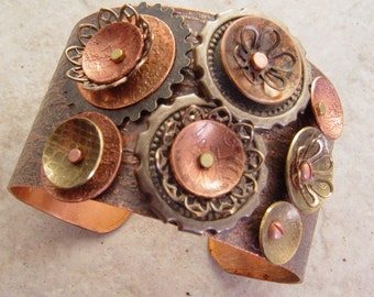 Embellished and Etched Copper Cuff Bracelet, Antique Grunge Steampunk, 1.5""