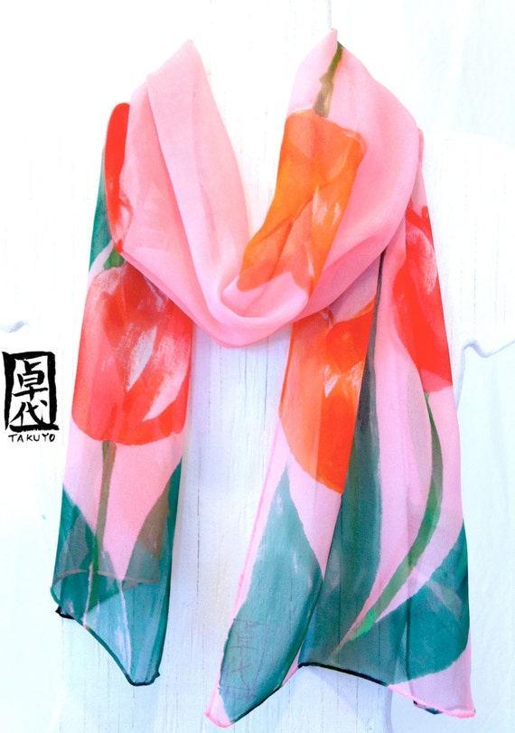 Hand Painted Silk Scarf, Pink Floral Scarf, Pink Tulip Garden Floral Silk Scarf. Silk Scarves Takuyo. 10x54 in.