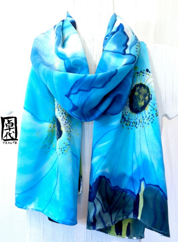 Silk Scarf Blue Poppies. Hand Painted Silk Scarf. Luxury Silk. Silk Scarves Takuyo. Blue Silk Scarf. Silk Charmeuse Scarf. 15x60 in.
