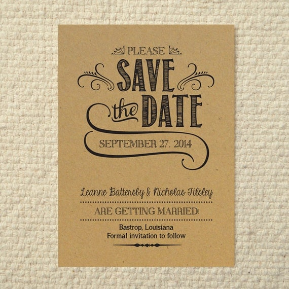 Diy kraft paper wedding save the date by amyadamsprintables for Free online wedding save the date templates