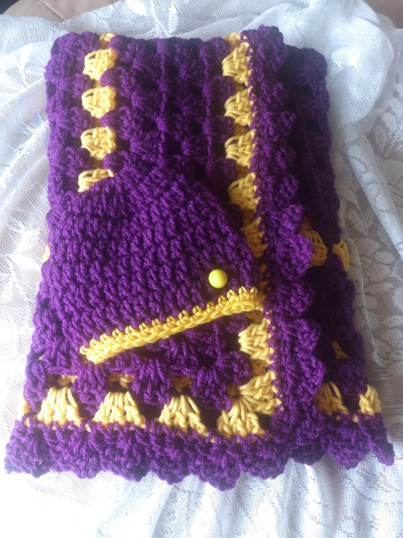 Crochet Purple And Yellow Baby Blanket Shell Border And