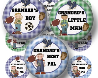 Boys, Bottle Cap Images, 1 Inch Circles, Digital Collage Sheet Grandad's Boy, (1a) Instant Download, Printable Bottle Caps, tt team