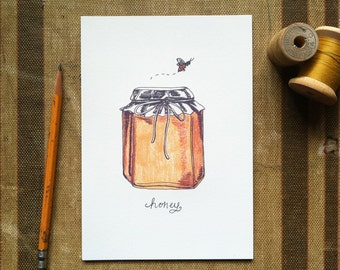 Honey Jar - Art Print 5x7, 8x10, 11x14 Bee Art