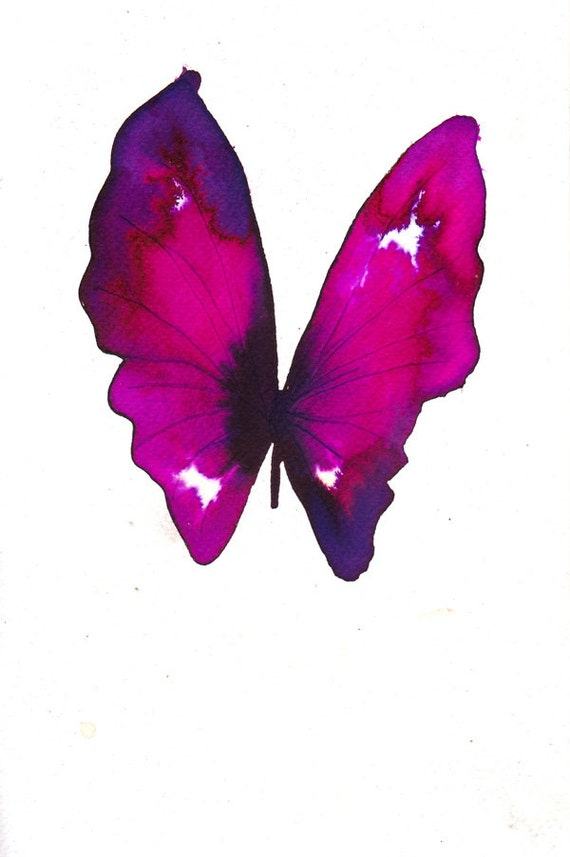 magenta and black butterfly with white spots original watercolour and ink painting