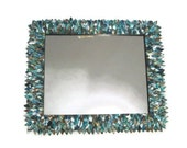 Teal, Blue, and Green Large Mirror, Leather Feather Wall Mirror, Ornate Bathroom Mirror, Hanging Mirror