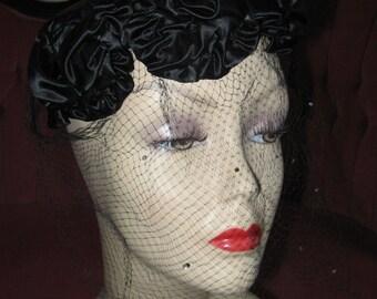 VINTAGE SATIN VEILED Pillbox by Elizabeth Retro 1950's Black