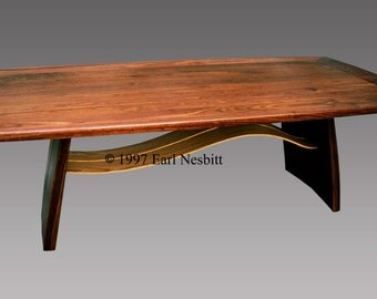 Dining table, solid walnut with ash slats