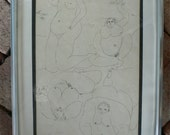 1973 Omar D'Leon, framed pen and ink on paper, robust ladies holding birds, from Diz Has Neat Stuff
