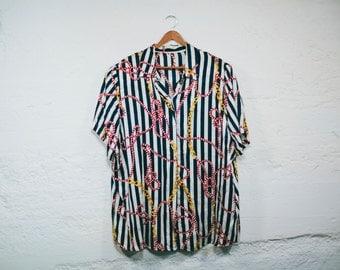 Vintage 80s WOMENS Nautical Striped Blouse