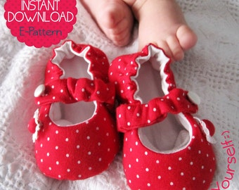 Baby Mary Jane Shoes - 7 sizes - PDF Sewing Pattern - INSTANT DOWNLOAD