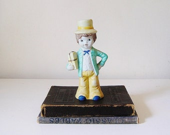Boy Figurine In Teal And Yellow Suit And Top Hat, Porcelain Figurine