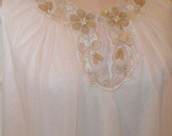 Vintage Nightgown Chiffon Komar Medium Cream and gold