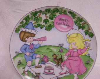 "Joan Walsh Anglund Happy Birthday Plate  Circa 1979 Made in Germany VINTAGE 10"" Diameter Children Celebrating Special Birthday"