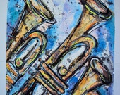 """Abstract """"Brass Trumpets"""" Watercolor and Acrylic Painting (Original Painting, not print)"""