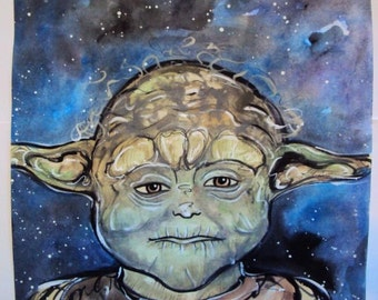 Star Wars Yoda Inspired Watercolor and Acrylic Painting (original painting)
