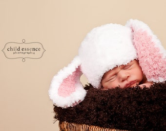 Bunny Rabbit Hat Fuzzy Newborn Photo Prop Easter Pink Baby Girl
