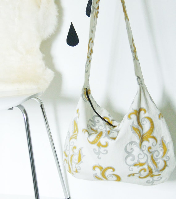Sale! Large cross body canvas bag in grey and yellow