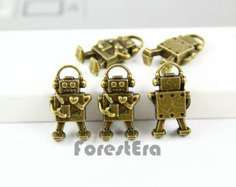 10Pcs Antique Brass LOVE Robot Charm LOVE Robot Pendant 17x9mm (PND068)