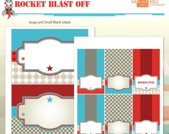 Spaceship Rocket Ship Birthday Party Printables - Blank Party Labels - DIY Print - Blast Off - Instant Download