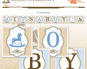 Library Book Printable Baby Shower Banner - DIY Print - Baby Boy - It's A Boy - Instant Download