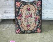 Antique Victorian Floral Petit Point Case