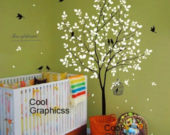 wall decal tree wall sticker office wall decal nursery bedroom wall decor home decor wall hanging - Tree with birds and Cage