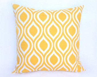 Yellow Decorative Pillow Cover 16x16 Inches Corn Yellow Nicole. Throw Pillow. Cushion Cover.