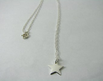 Personalized Custom Engraved Sterling Silver Star Charm Necklace - Hand Engraved