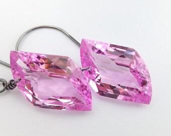 Pink topaz earrings, huge fancy cut gemstones, oxidized sterling silver, handcrafted, parallelogram: Simply Adorned