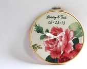 Personalized Embroidery Hoop Ring Bearer Pillow, Roses Wedding Embroidery Hoop Art, Anniversary Gift, Romantic Garden Wedding Decoration