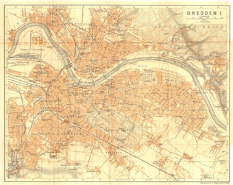 1925 Dresden Vintage City Map, Saxony, Germany, Baedeker Original Antique Street Plan