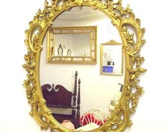 """Hollywood Regency Syroco Gold Mirror Ornate Framed Oval - Big 29"""" Long x 20"""" Wide - Rococo"""