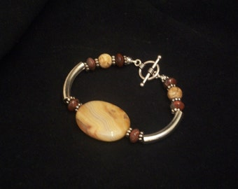 Crazy Lace Agate Bracelet with Picture and Brecciated Jasper