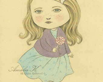 ON SALE 50% DISCOUNT, Original Watercolor and Pencil Drawing, Girl with Lollipop Whimsical Illustration, Nursery art, Children's Room Decor