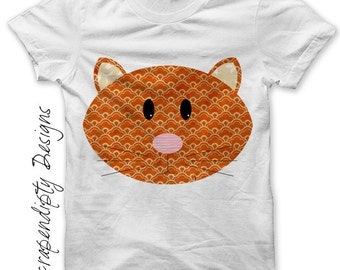 Cat Iron on Transfer - Animal Iron on Shirt PDF / Kids Girls Clothing Top / Cute Kids Clothes / PDF Cat Printable / Digital Graphics IT21