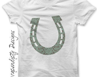 Horseshoe Iron on Shirt - Horse Iron on Transfer / Lucky Newborn Girls Clothes / Iron on Patch / Fabric Transfer / Kids Baby Shirt IT137-C