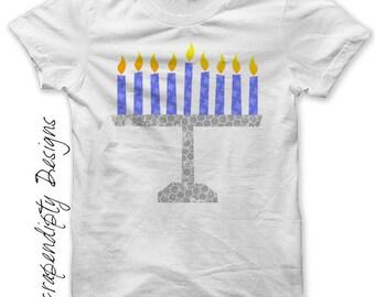 Menorah Iron on Shirt PDF - Hanukkah Iron on Transfer / Chanukah Tshirt Iron on / Menorah Shirt Kids Design / Little Boys Clothing IT139