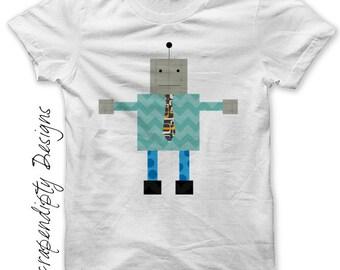 Robot Iron on Transfer - Boys Iron on Shirt PDF / Toddler Robot Shirt / Kids Boys Clothing Tops / Birthday Blue Baby Robots Printable IT46