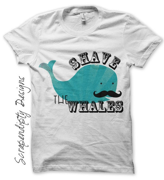Iron on Whale Shirt - Mustache Iron on Transfer / Kids Boys Funny T shirt / Men Tshirt Shave the Whales / Hipster Baby One Pieces IT225-D