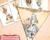 ALICE in WONDERLAND BUNTING set 6 Alice decoration printable bunting download for scrapbooking, party printables and graphic design.