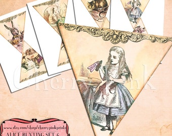 ALICE In WONDERLAND BUNTING Set 6 Alice Decoration Printable Bunting