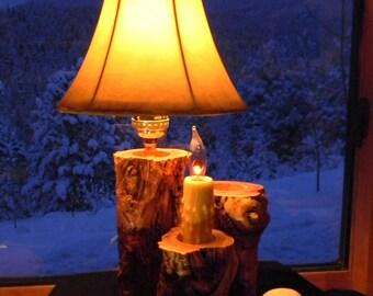 Aspen log lamp - Rustic lamp - Hurricane lamp - Accent lamp