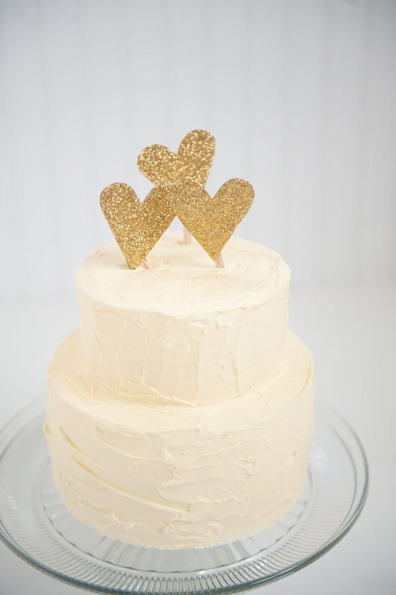 gold heart wedding cake toppers gold glitter wedding cake topper 14785