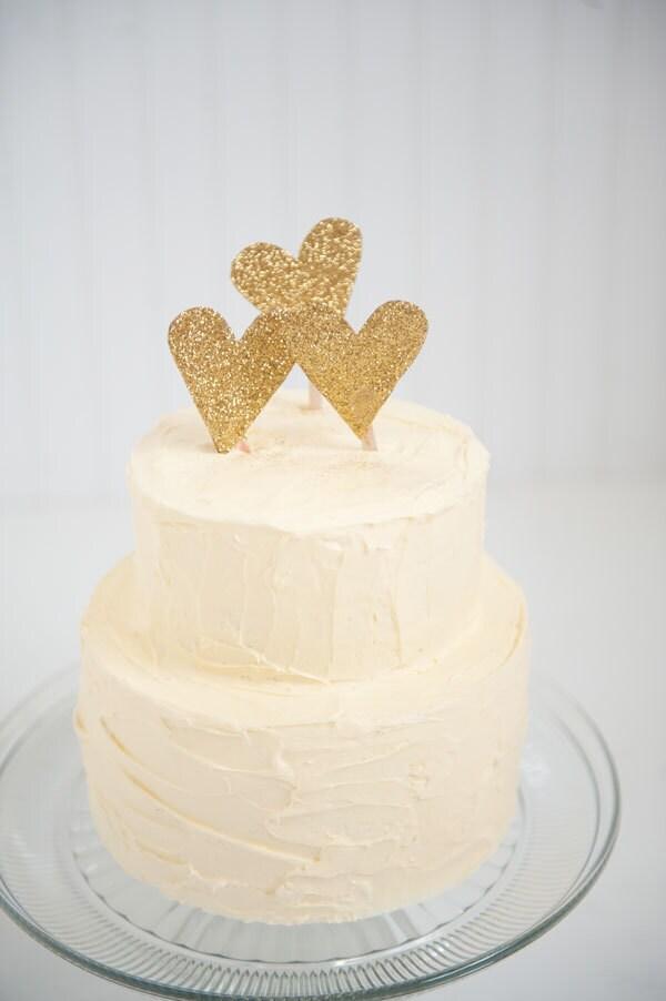 Gold Glitter Heart Wedding Cake Topper