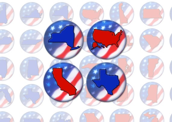 Election Party Bottlecap Images / USA Blue Red States / American Patriotic United States Shapes / 1-Inch Circles Collage / Instant Download