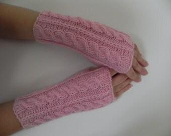 Arm warmers, fingerless gloves, arm cuffs in  pink, fingerless mittens