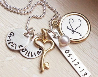 Mothers Personalized Name Initial Date Mommys Necklace Silver Gold Brass Hand Stamped Heart Key Charm JewelryMothers Day