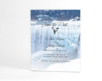 Waterfall Save the Date Cards, Frozen Winter Waterfall, Niagara Falls Save the Date Cards or Postcards, Optional Tiny Bride and Groom