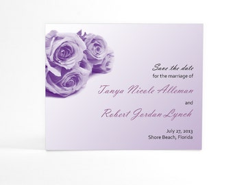 Rose Bouquet Save the Date Cards, Softly Painted Brushstrokes, Floral Wedding Announcements, For Weddings of All Seasons, Your Chosen Color