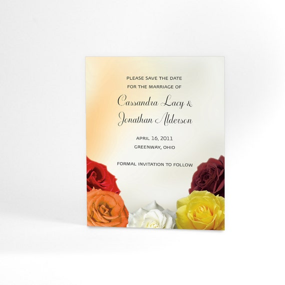 Wedding Save the Date Cards with Colorful Blooming Roses and Satin Background Imagery Perfect for Spring and Summer Weddings